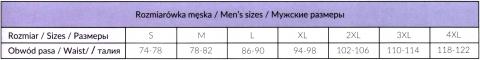 Таблица соответствий размеров мужских плавок