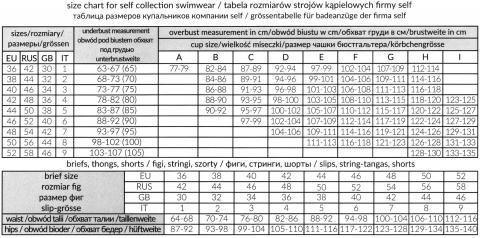 Таблица соответствий размеров купальников