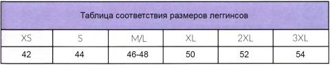 Таблица соответствий размеров леггинсов